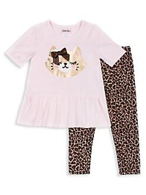 Little Lass Baby Girl's 2-Piece Sequined Kitty Jer