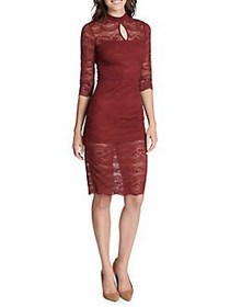 Kensie Lace Cutout Sheath Dress BURGUNDY