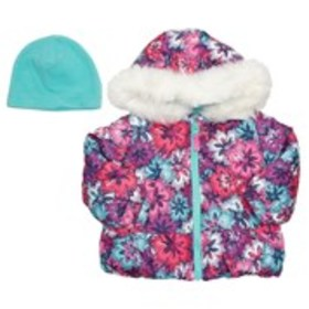 LONDON FOG Baby Girls Floral Print Puffer with Fau