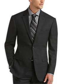 Awearness Kenneth Cole Charcoal Plaid Slim Fit Sui