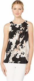 Calvin Klein Printed Halter Top with Ruffle