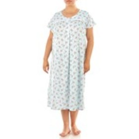 Plus Size Floral Nightgown with Embroidered Yoke