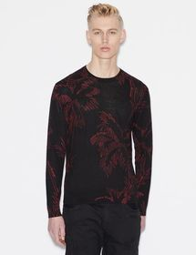 Armani LINEN BLEND PULLOVER WITH PATTERN