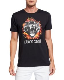 Roberto Cavalli Men's Flaming Tiger Graphic Short-
