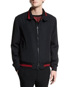 Lanvin Zip-Up Bomber Jacket with Striped Trim Blac