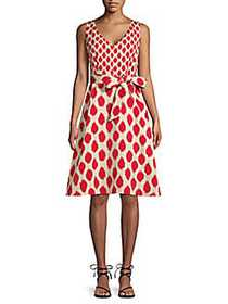 Donna Karan Abstract Faille Fit-And-Flare Dress RE