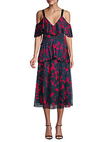 Jason Wu Collection Printed Cold-Shoulder Midi Dre