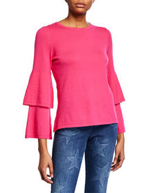 Sail to Sable Tiered-Sleeve Cotton-Blend Sweater