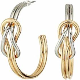 Kenneth Jay Lane Gold and Silver Knotted Hoop Post
