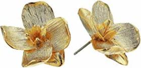 Kenneth Jay Lane Gold Flower Pierced Earrings