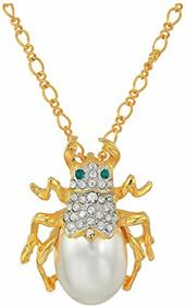 """Kenneth Jay Lane 18"""" Gold Chain with Crystal and P"""