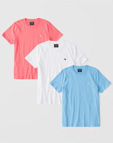 3-Pack Icon Crew Tee, CORAL-WHITE-BLUE