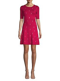 Kensie Short-Sleeve Sweater Dress RED
