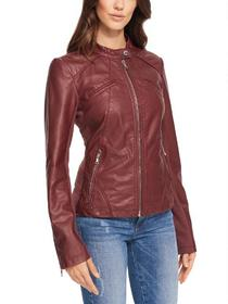 Designer Brand Snap-tab Collar Faux-Leather Jacket