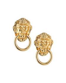 Kenneth Jay Lane Lion Head Door-Knocker Clip-On Ea