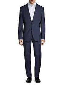 HUGO Slim-Fit Henry Plaid Virgin Wool Suit NAVY