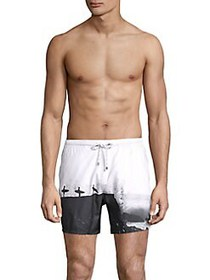 BOSS Printed Swim Shorts WHITE