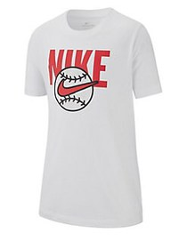 Nike Boy's Baseball Cotton Tee WHITE