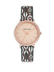 Anne Klein Rose Goldtone and Printed Leather Strap