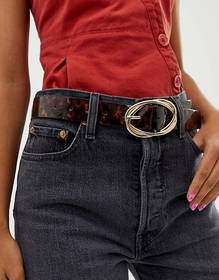 River Island belt with oversized buckle in tortois
