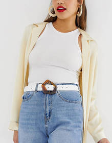 ASOS DESIGN leather tort abstract buckle waist and