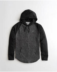 Hollister Colorblock Hooded T-Shirt, BLACK AND HEA
