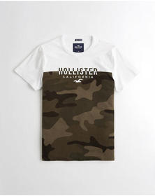 Hollister Split Logo Graphic Tee, WHITE AND CAMO