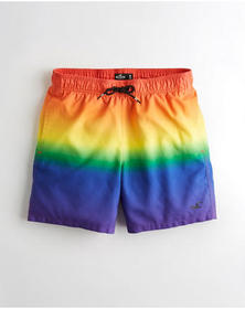 Hollister Guard Fit Swim Trunks 5 in., RAINBOW OMB