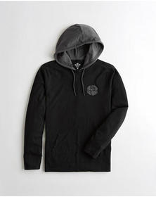 Hollister Hooded Graphic Tee, BLACK
