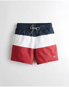 Hollister Guard Fit Swim Trunk 5 in., NAVY WHITE B