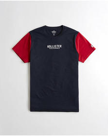 Hollister Embroidered Americana Graphic Tee, NAVY