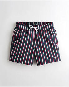 Hollister Guard Fit Swim Trunks 5 in., NAVY STRIPE