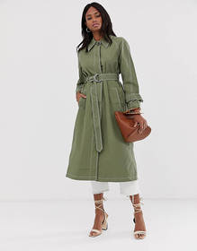 ASOS DESIGN mac with contrast stitching and statem