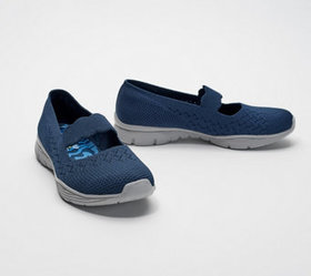 """""""As Is"""" Skechers Flat- Knit Mary Janes -Seager Pow"""