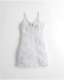 Hollister Tie-Front A-Line Dress, LIGHT BLUE STRIP