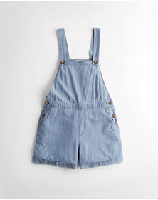 Hollister Chambray Short Overalls, BLUE