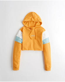Hollister Ultra Crop French Terry Hoodie, YELLOW
