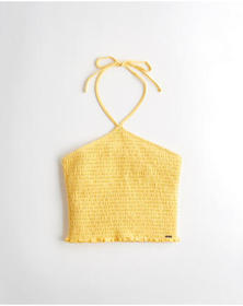 Hollister Smocked Halter Top, YELLOW