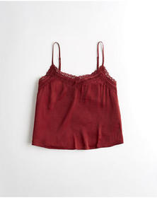 Hollister Lace-Trim Satin Cami, BURGUNDY