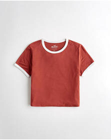 Hollister Must-Have Crop Easy T-Shirt, RED