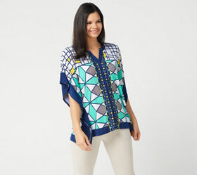 """As Is"" Susan Graver Printed Liquid Knit Scarf Top"