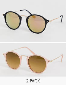 ASOS DESIGN 2 pack round sunglasses with skinny me