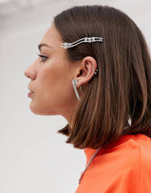 ASOS DESIGN hair clip with sleek wave and crystal