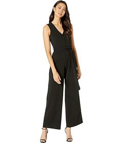 Bebe Faux Button Tie Front Jumpsuit