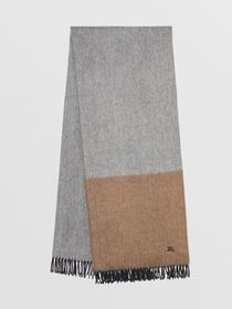 Burberry Colour Block Cashmere Scarf in Ivory