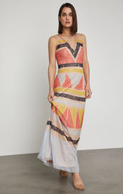 BCBG Colorblocked Lace Maxi Dress