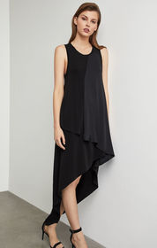BCBG Asymmetrical Mixed Media Dress