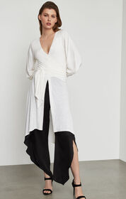BCBG Asymmetric Tie-Front Tunic Top