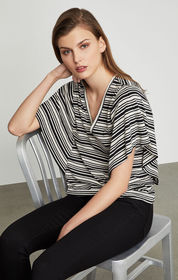 BCBG Striped Drape Sleeve Top