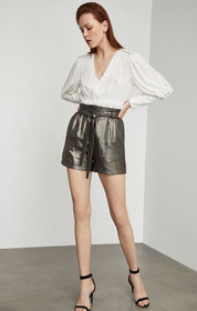 BCBG Metallic Paperbag Waist Short